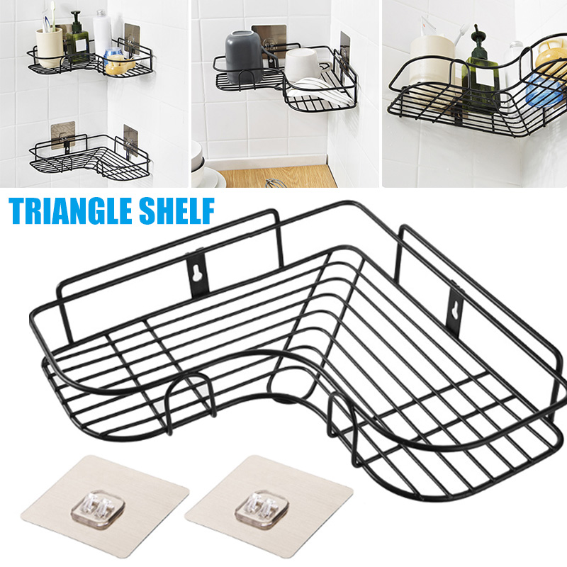 New Stainless Steel Triangular Wall Corner Rack Bathroom Kitchen Shower Shelf Organizer Punch Free Holder Shampoo Storage Rack