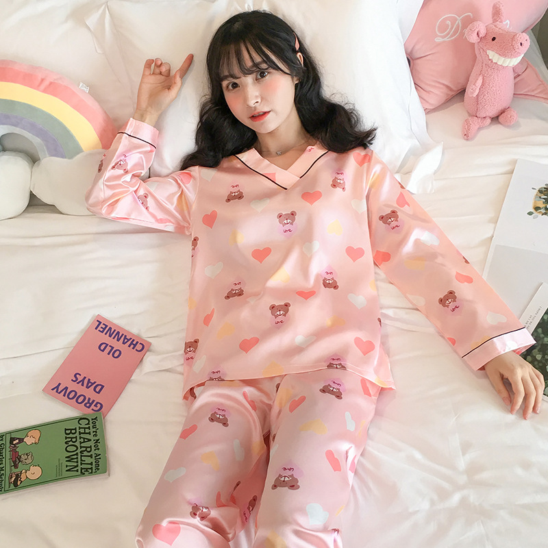 Liang Xing-Autumn & Winter V-neck Viscose Double Short Care Bears Powder Printed Pajamas Suit M-XXL
