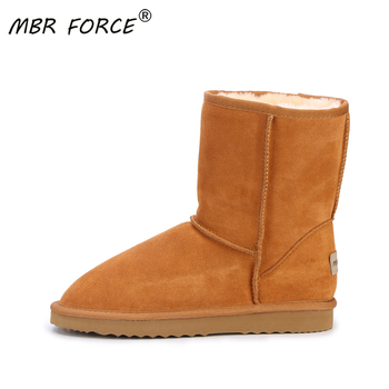MBR FORCE Fashion Women Boots Winter Warm leather suede winter snow boots for women real Mid-Calf Boots winter for Girl's shoes new fashion autumn winter mid calf boots for women height increasing wedges shoes beige black boots white pearls beaded boots