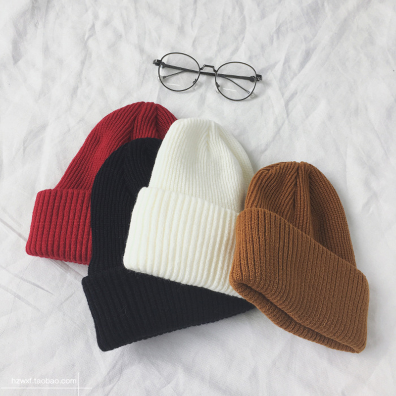 Unisex Couple Solid Color Wool Blend Knitted   Beanie   Hat Warmer Ear Soft Ski Cap