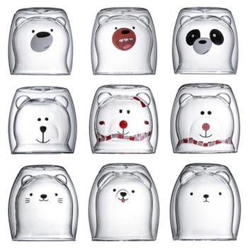 Glass Mugs Double Wall Glass Mug, Bear Cat Dog Animal Double-layer Glass Mug Coffee Cup, Christmas Mug Gift ,Cute Milk Cup 1