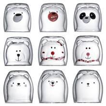 Caneca de vidro dobro da parede das canecas de vidro, cão do gato do urso animal copo de café da caneca de vidro da dupla camada, presente da caneca de natal, copo bonito do leite