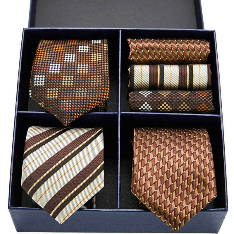 New Stripe Men Ties Set Extra Long Size 145cm*7.5cm Necktie Paisley Silk Jacquard Woven Neck Tie Suit Wedding Party Gift Box