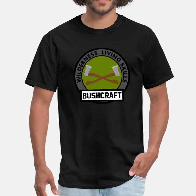 Camiseta de punto con emblema de Bushcraft para hombre, Camiseta de algodón con cuello redondo para verano para hombres, de talla grande S-5xl camiseta, camiseta