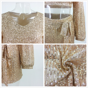 Image 5 - PFFLOOK Autumn Sexy Sequin 2 Piece Set Women O Neck Bandage Crop Tops Pants Two Piece Set Long Sleeve Women Two Piece Outfits
