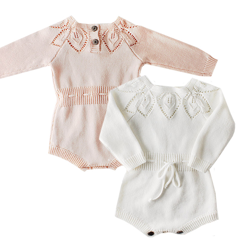 Knitted Baby Clothes Newborn Girl Romper Cotton Long Sleeve Autumn Infant Baby Rompers For Girls Jumpsuit Spring Baby Clothes
