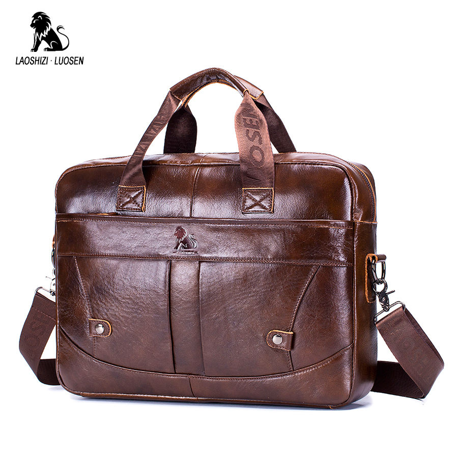 LAOSHIZI LUOSEN Men Leather Briefcase Business Handbag Messenger Bags Male Vintage Shoulder Bag Men's Large Laptop Travel Bags