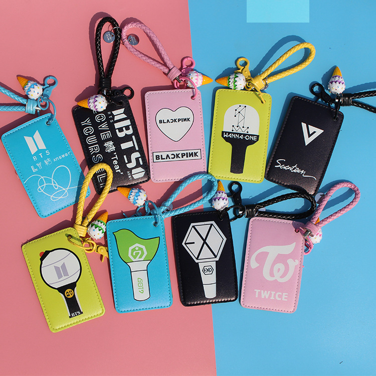 BTS Bulletproof Boys Wanna ONE Twice GOT7 BLACKPINK Bus Card Holder Keychain
