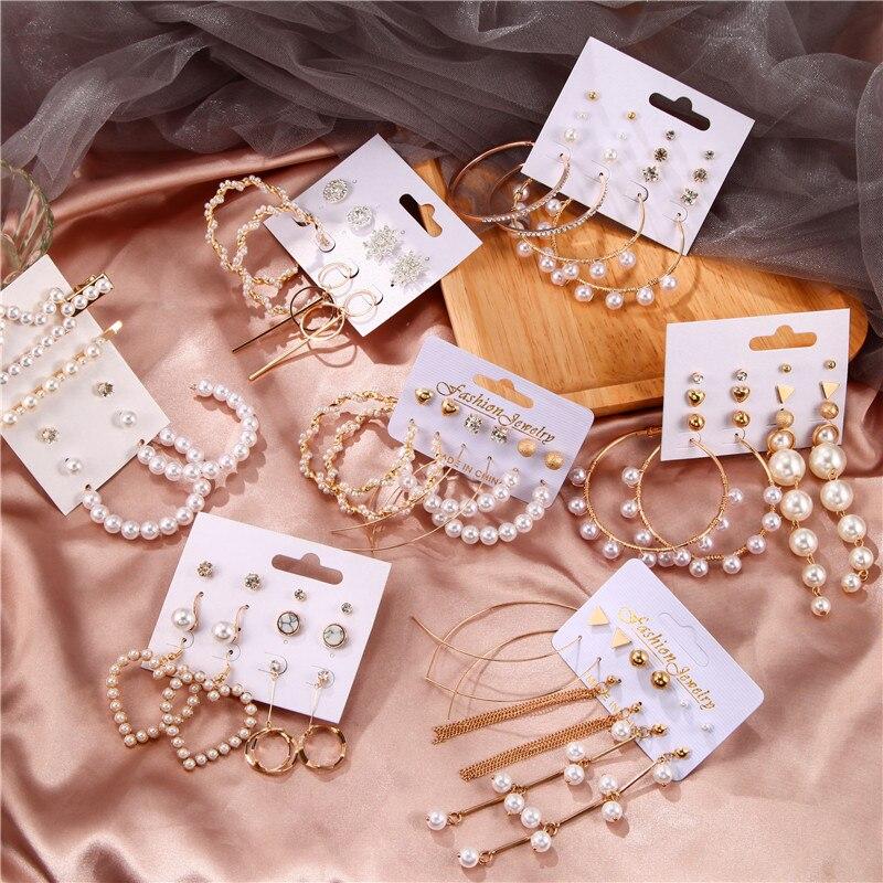 32 Style Mix Tassel Acrylic Earrings For Women Rhinestone Sun Flower Geometric Earring Set Female Fashion Jewelry