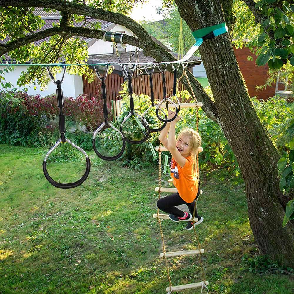 Playgrounds Parque Infantil Hanging Rings Ninja Climbing Kids Children Swing Rings Outdoor Mountain Climbing Gymnastic Ring
