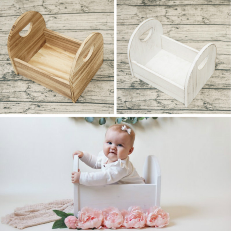 Newborn Photography Props Wooden Mini Photo Bed Infant Photo Shoot Props Do Old Baby Shoot Accessories White Posing Container