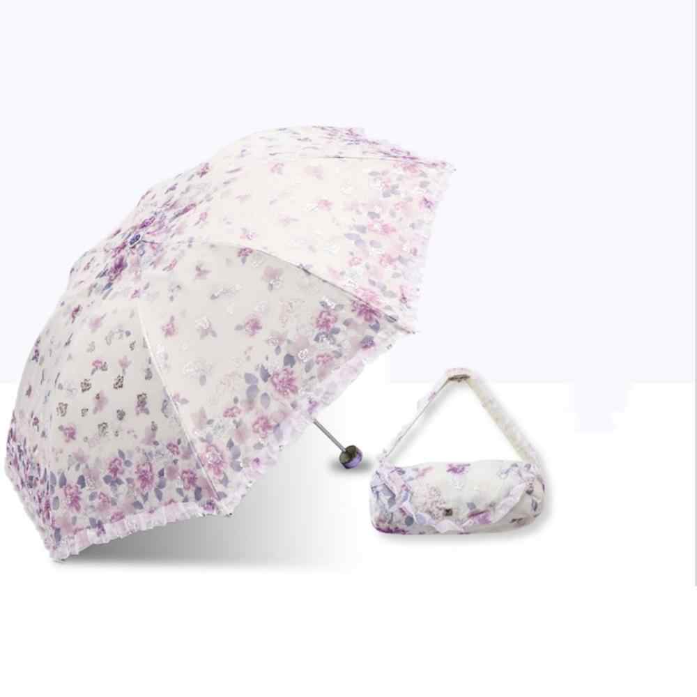 Paradise Umbrella New Sunscreen Tri-Fold Umbrella Female Folding Sun Umbrella Dual-Use Small Fresh Umbrella Double Umbrella