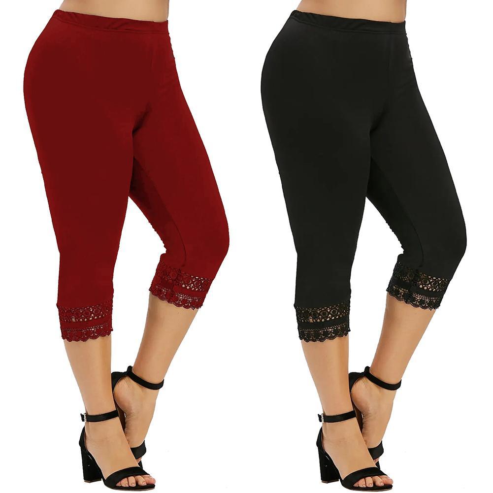 Women Solid Color Mid Rise Capri Pants Leggings Yoga Skinny Cropped Trousers Lace Patchwork Hem Skinny Breathable Capri Pants