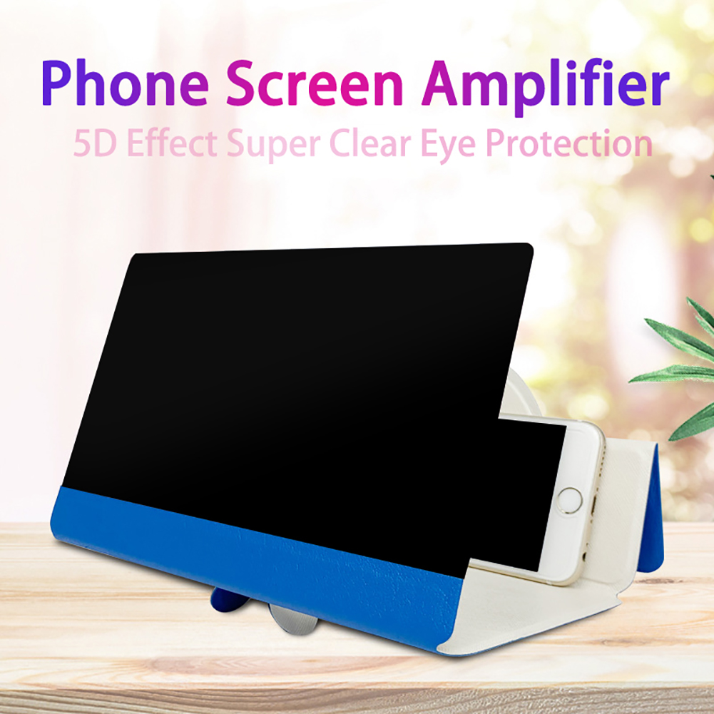 5D Screen Amplifier Folding Leather Mobile Phone Magnifying Glass HD Stand Video Amplifier Bracket Enlarge Stand Eyes Protection