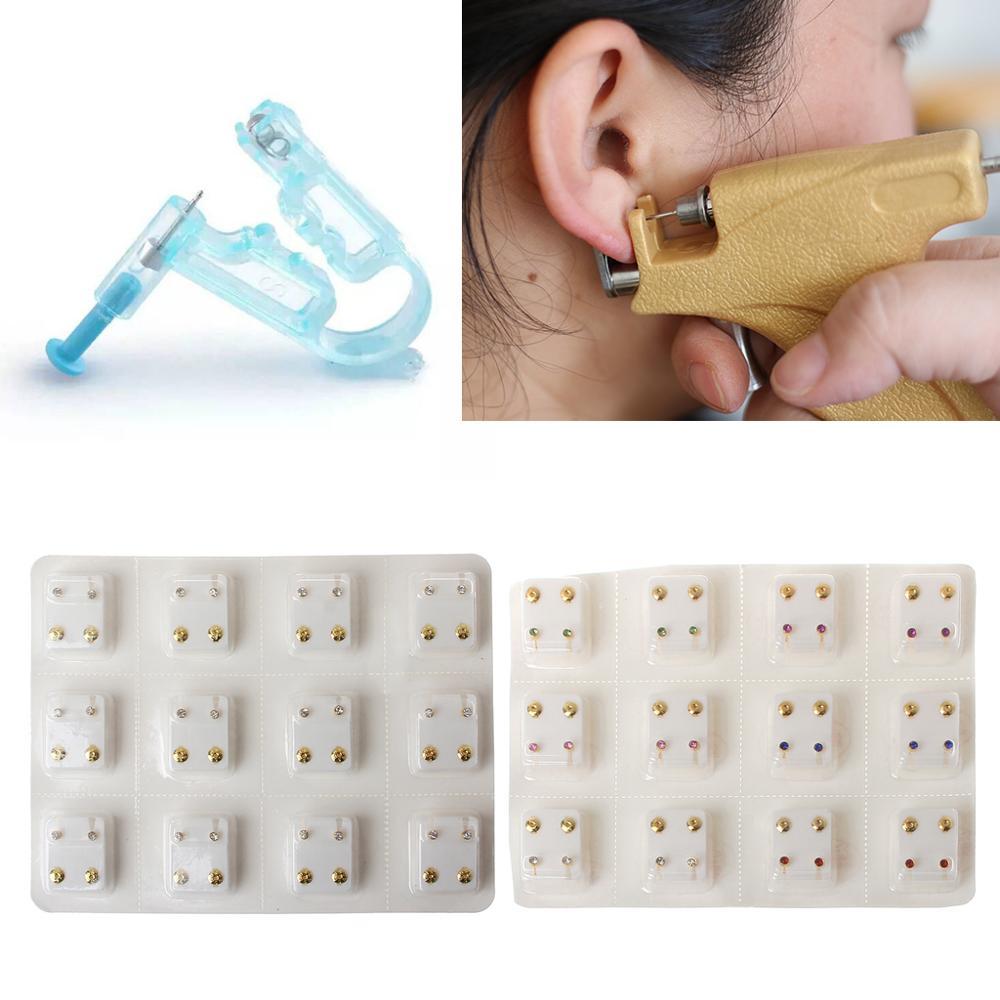 12 Pairs Gold Ear Piercing Earrings Set Hypoallergenic Mini 3mm CZ Studs Jewelry