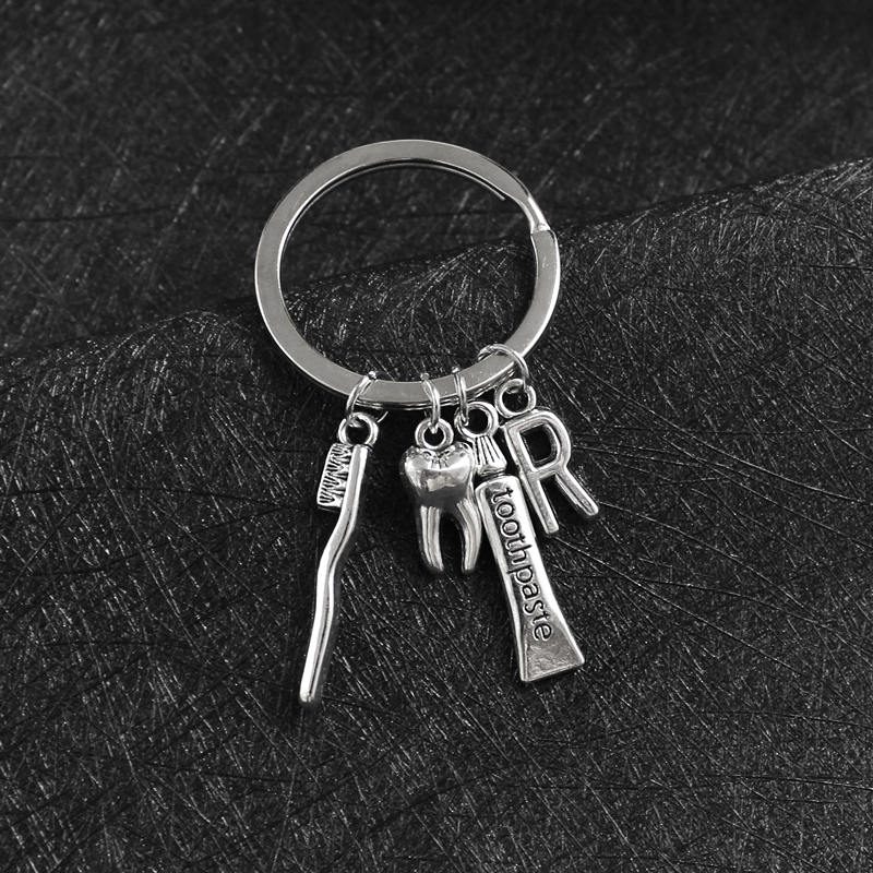 Toothbrush Toothpaste Keychain DIY Alloy Ancient Silver Teeth 26 Letters Pendant Keyring Oral Health Dentist Nurse Creative Gift