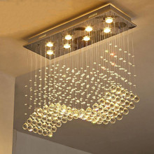 Rectangle crystal chandelier Dining room Bedroom Kitchen Island lustre led suspension home deco pendant lamp