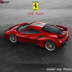 Bburago 1:24 Ferrari 488 макароны модель автомобиля литье под давлением Металлическая Модель Детская игрушка бойфренд подарок имитация сплава коллек...