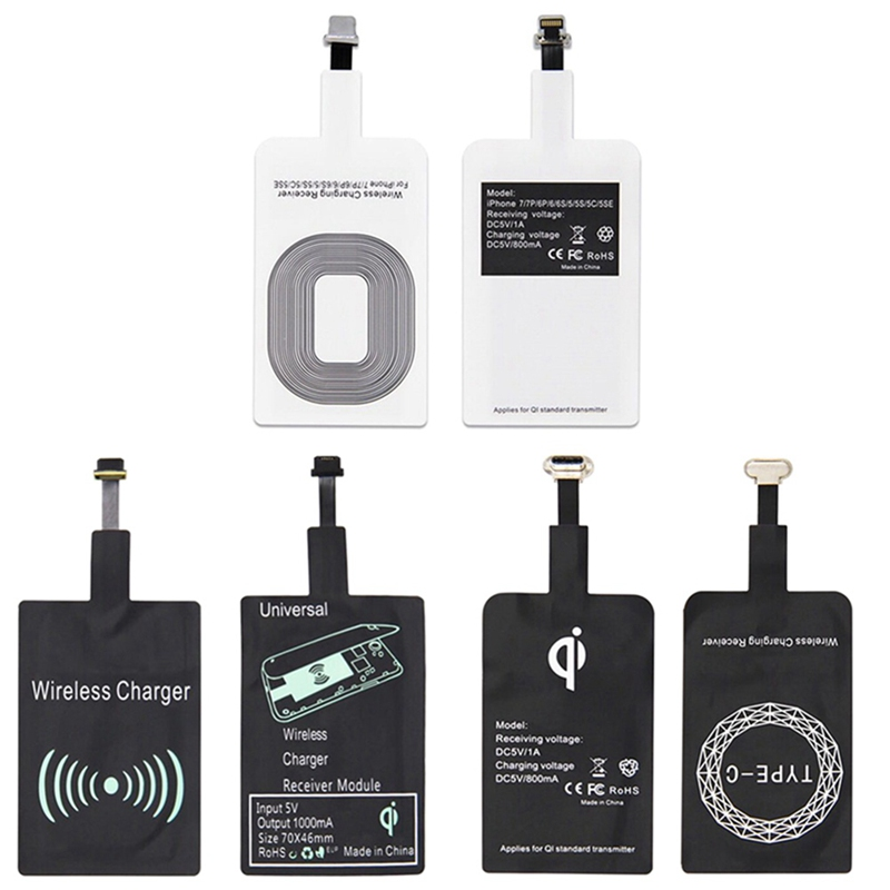 Wireless Charger Receiver Pad Smart Charging Receptor for IPhone 5 5S 7 6S 6 Plus Android Micro USB Type C