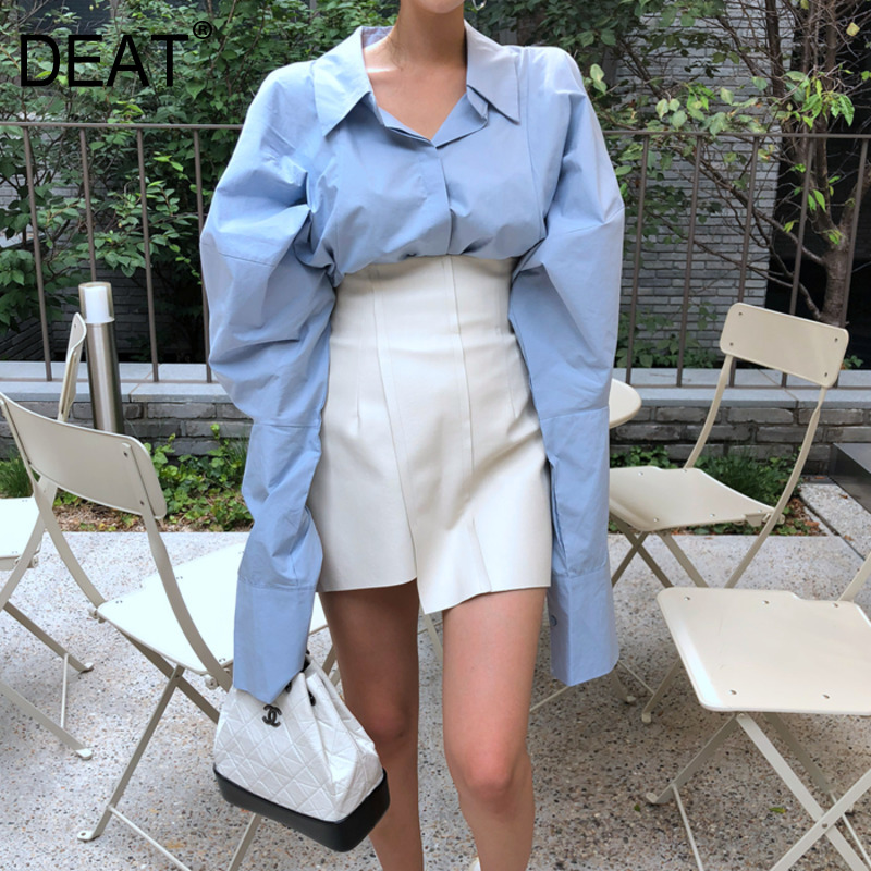 DEAT 2020 New Summer And Autumn Turn-down Collar Lantern Sleeves Single Breasted Loose Wide Shirt Female Blouse Korea Styles