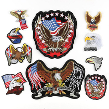 Iron on American Flag Patches for Clothes DIY Applique Embroidered Patriotic USA Military Tactics Eagle Patch Stickers 10pcs/lot