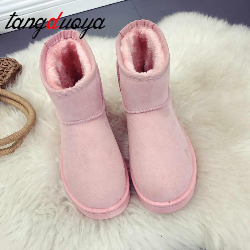 Klasik çizmeler kadın ayakkabıları yüksek kalite ucuz % 2019 inek derisi moda ayak bileği kadın kar botları sıcak kadın kış botları pembe çizmeler