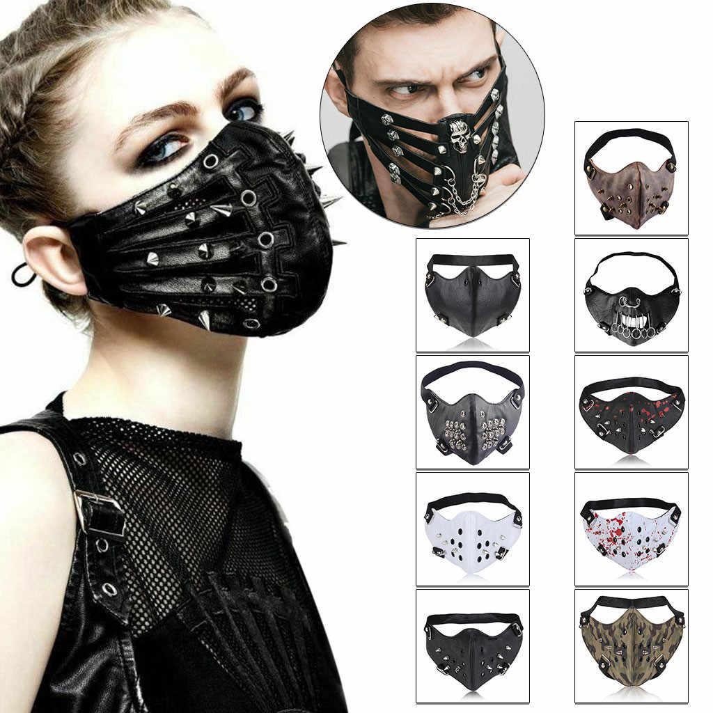 Punk Rock Zwart Unisex Motorfiets Punk Hallowin Cosplay Stijl Metalen Klinknagel Masker Vrouwen Mannen Moffel Gezicht Mond Maskers