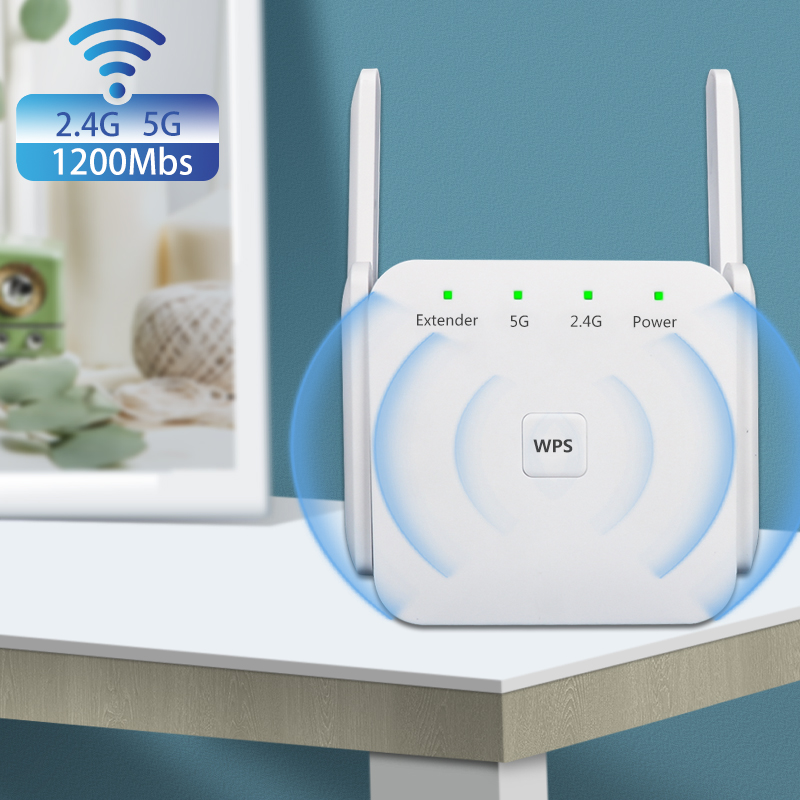 WiFi Repeater Signal Amplifier 2.4G/5Ghz Wireless Internet Wi-Fi Range Extender 1200Mpbs Wifi Signal Booster For House Home