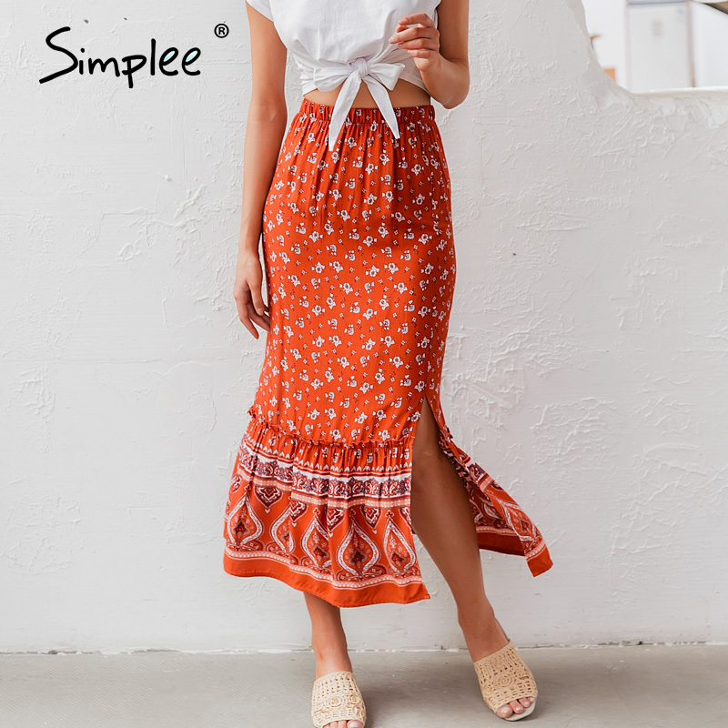 Simplee Bohemian Floral Print Women Long Skirt Ruffled Split A-line Female Skirts Spring Summer Holiday Beach Ladies Skirts 2020