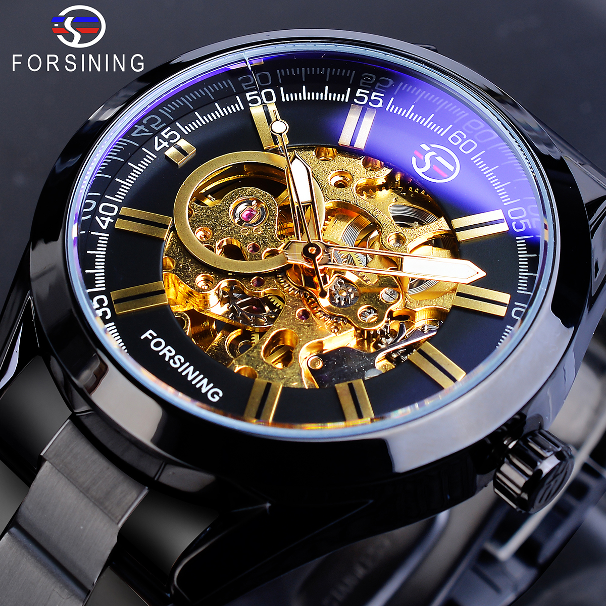 Forsining Black Mens Mechanical Watches Automatic Skeleton Steampunk Stainless Steel Strap Military Sport Wristwatch Homme Saati|Mechanical Watches| |  - title=