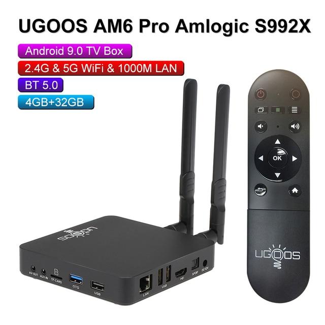 UGOOS AM6 AM3 חכם אנדרואיד 9.0 טלוויזיה תיבת Amlogic S922X 2GB LPDDR4 / 16GB 2.4G & 5G WiFi 1000M LAN DLNA BT 5.0 4K HD Media Player