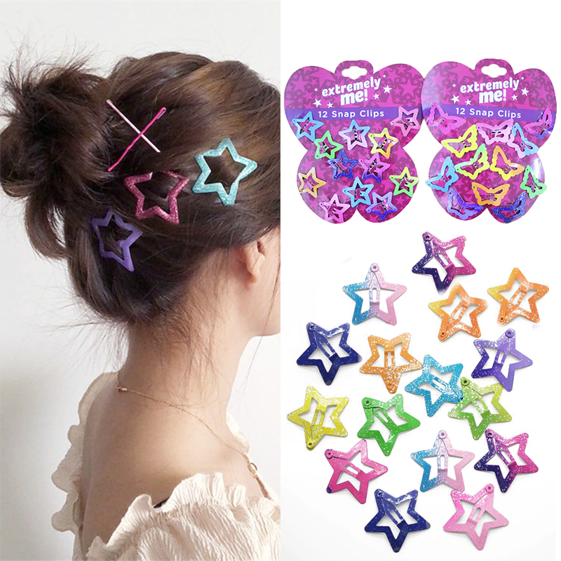 12Pcs/set Beautiful Pentagram Hair Clips Kids Glitter BB Clips Girls Buterfly Asymptotic Color Hairclips Accessories   Headwear