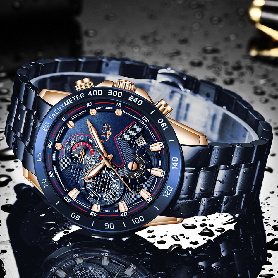 LIGE Men Watches Top Brand Luxury Stainless Steel Blue Waterproof Quartz Watch Men Fashion Chronograph Male Sport Military Watch 4
