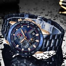 LIGE Men Watches Top Brand Luxury Stainless Steel Blue Waterproof Quartz Watch Men Fashion Chronograph Male Sport Military Watch