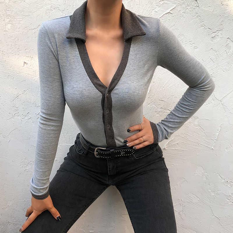 Waatfaak Button Patchwork cuello en V de manga larga Bodysuit gris de invierno Bodysuit mujeres camisa básica mono informal 2019