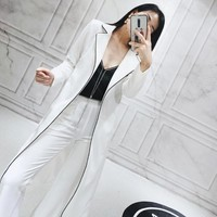 Runway New Women Long Blazer Trench Coat Wide Leg Pants Office Ladies Two Piece Set Classic Sashes Lace Up Suit Sets Coordinates