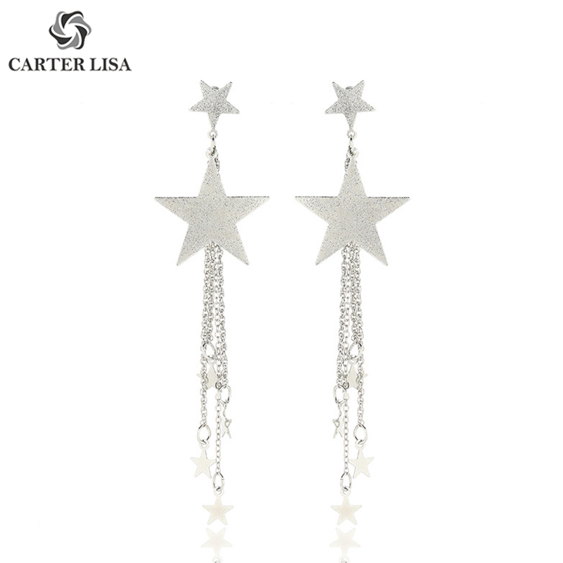 CARTER LISA Fancy Gold Silver Star Fringe Drop Dangle Earings For Women Girl Fashion Jewelry Party Christmas Gifts Brincos