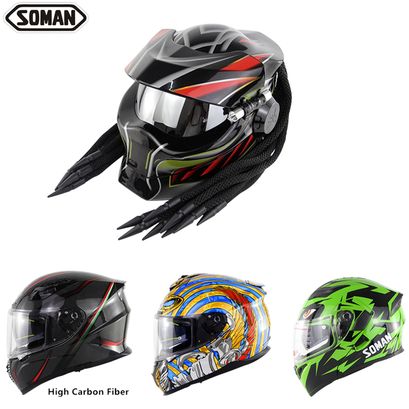 SOMAN Helmets Predator Black Full Face Helmet With Braid Helmets Cool Casco Moto Flip Up Kask Motorcycle Helmet Predator SM958