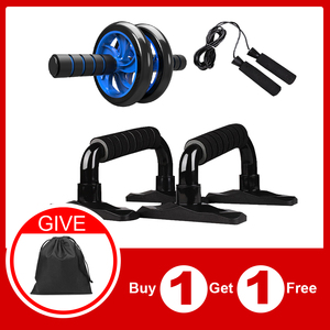 Spier Oefening Apparatuur Abdominale Druk Wiel Roller Thuis Fitnessapparatuur Gym Roller Trainer Met Push Up Bar Jump Rope(China)