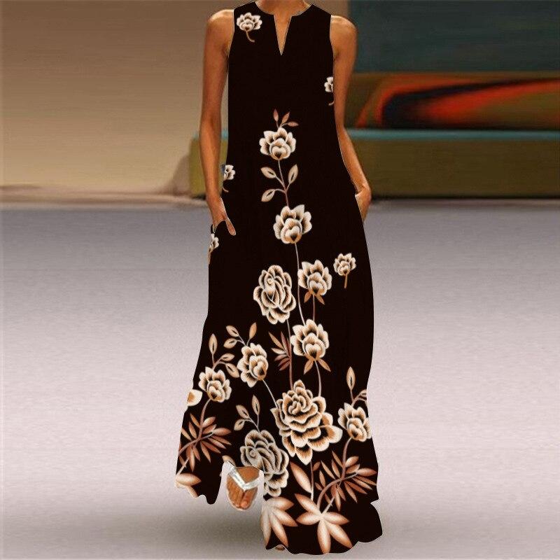 MOVOKAKA 2021 White Long Dress Women Mouth Print Vintage Sleeveless Elegant Dress Casual Plus Size Vestidos Girls Dresses Summer 35