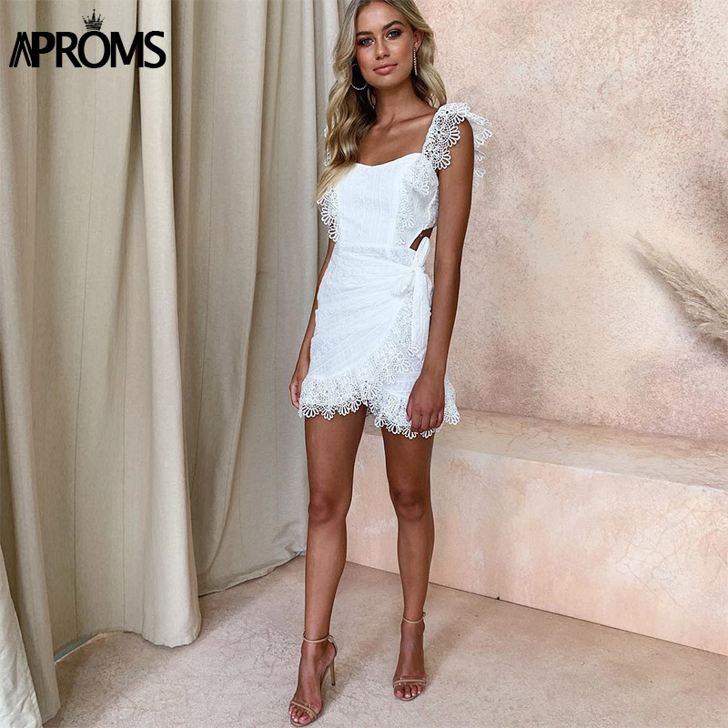 Aproms Elegant White Lace Crochet Short Dress Women 2020 Summer Sexy Bow Tie Backless Bodycon Party Dresses Sundresses Vestidos 2