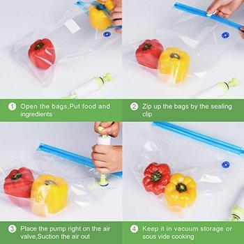 BPA ฟรีนำกลับมาใช้ใหม่ถุงสูญญากาศซีลมือปั๊มซีลคลิป Sous Vide คลิปปฏิบัติยาวเวลาทำอาหารอาหารแช่แ...