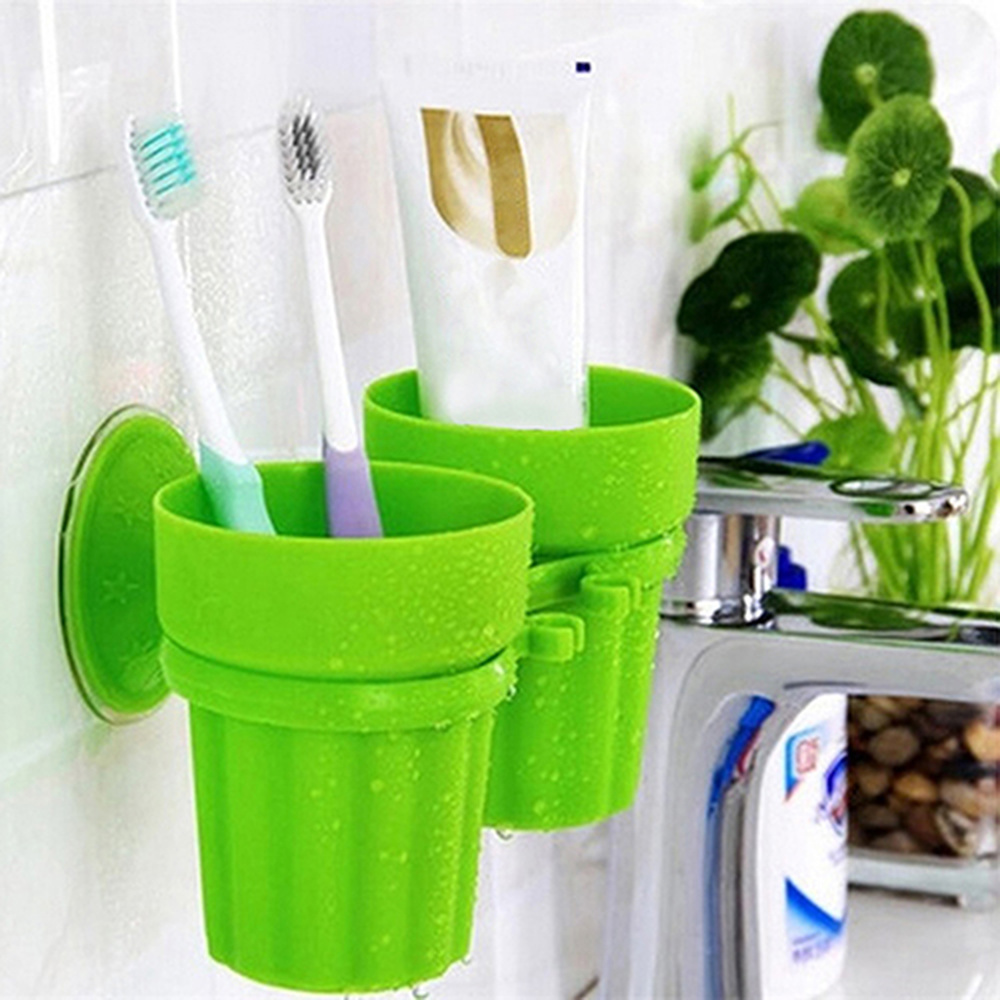 Creative Suction Cup Toothbrush Holder Suction Cup Mouth Brushing Teeth Cup Bathroom Wash Set Couple Teeth Rack LO7191157