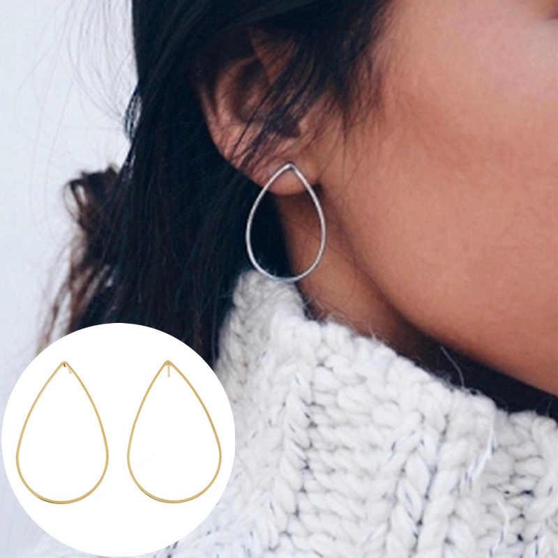 Tropfen Förmigen Ohrringe Einfachheit Handgemachte Kupfer Draht Ohrring für Frauen Gold Farbe Geometrische Hohl Wasser tröpfchen Ohr Schmuck