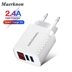 USB Charger 18W Fast Charging 18W Quick Charge 3.0 LED Display EU US Wall Adapter For iphone 11 Samsung A50 Xiaomi fast charger