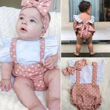 Macacão pudcoco sem mangas para bebês, roupas estampadas de bolinhas, plissado, com costas nuas, 2 peças