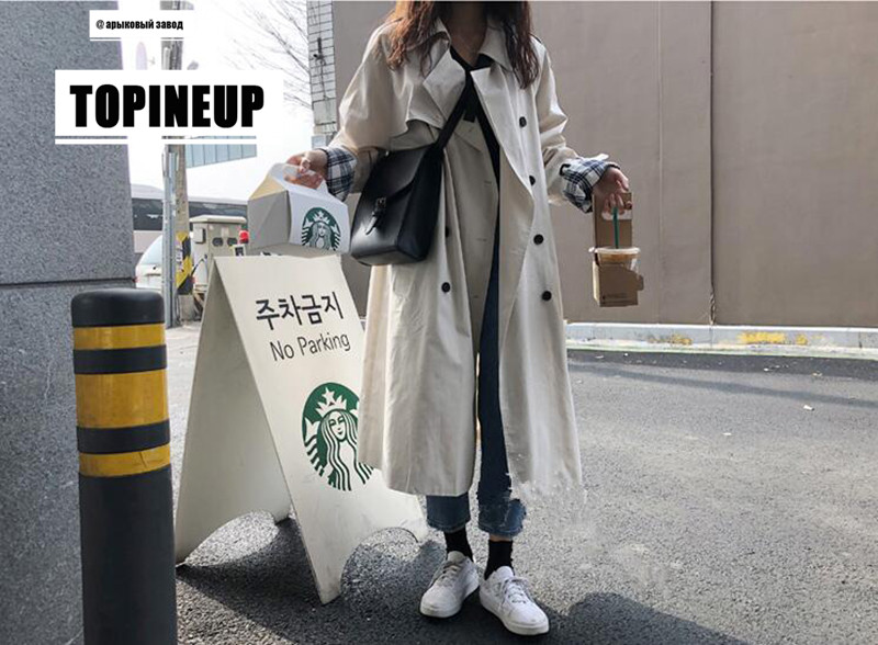 Fall 2019 Korea Plaid Patchwork Double-breasted with Belt Long Windbreaker Solid Color Women   Trench   Coat Elegant