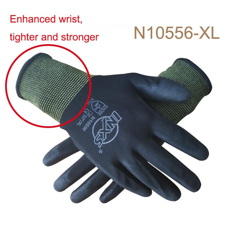 10 Guantes de trabajo con revestimiento de seguridad de nitrilo PU certificado CE EN388