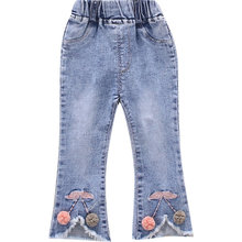 Kids Baby Jeans for Girls Denim Pants Cherry Decorated Fashion Cotton Knitted Trousers Wholesale Toddler Clothes