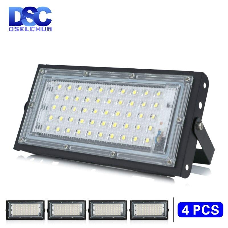 4 unids/lote 50W Led de luz de inundación AC 220V 230V 240V al aire libre proyector IP65 impermeable farola LED iluminación de paisaje